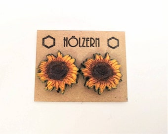Wood studs sunflower hand painted acrylic paint