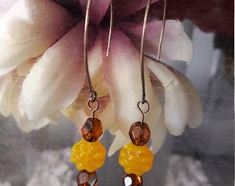 Marigold Yellow Flower Bead Earrings