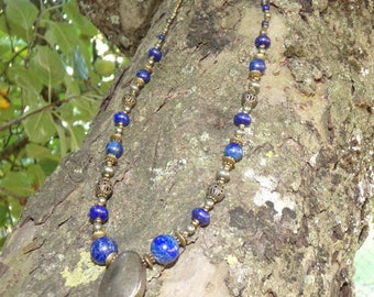 Lapis Lazuli and Pyrite beaded necklace.