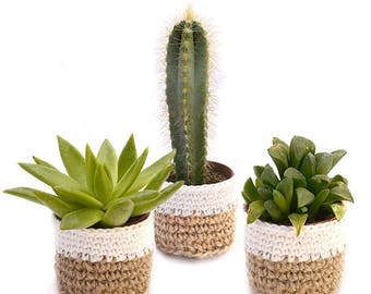 Le Mini Cache-Pot en Jute et Coton : cadeaux aux invités, cadeau de noël, décoration table, déco de mariage, baptême, anniversaire