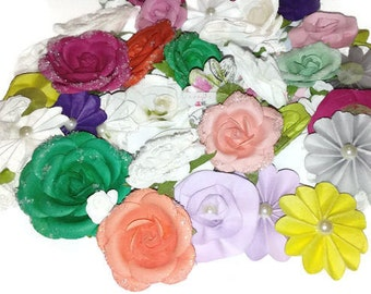 Paper Flower Embellishments, Handmade, Flowers, Card Making Supplies, Card Making Embellishments, Craft Supplies, 68 Pieces, Roses, Pearl