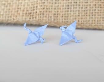 Light Blue Origami Dragon Studs