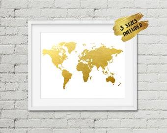 World Map Print,Gold Foil Map,Gold World Map,Gold Map Print,Map of the World,The Golden World Print,Faux foil Map,office decor,gold print