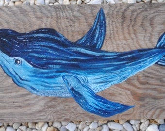 Hand-Painted Whale on Reclaimed Wood-Made to Order-Contact for Price
