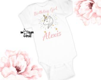 Personalized Unicorn Birthday Bodysuit - Toddler T-Shirt - Custom Toddler Tees - Customized Sleeper - Custom Bodysuit