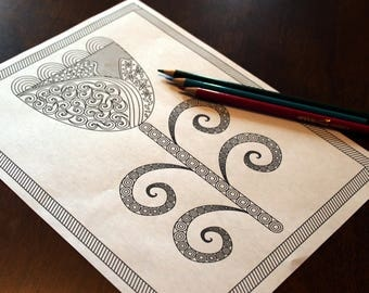 Adult coloring page; Instant download print