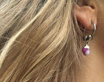 Pink Agatha Earrings