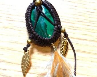 Macrame Necklace with Malachite semi precious gem stone