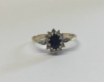 9ct Gold Dark Oval Sapphire And Diamond Ring