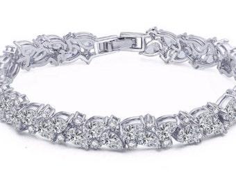 CZ Bridal Bracelet Bridal Swarovski Bracelet Bridal Jewelry Wedding Jewelry Sparkle Bracelet Bridal Diamond Bracelet Crystal Bracelet Zircon