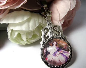 Victorian woman - gift idea for woman cello shaped baroque pendant