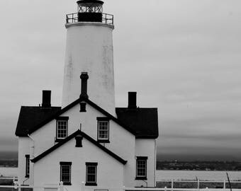 Dungeness Spit Lighthouse in Black and White
