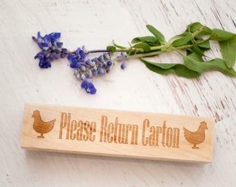 Egg Carton Stamp - Chickens - Wooden Egg Stamp - Farm Fresh Eggs - Chicken Coop - Homestead Stamp - Rubber Stamp - Return Carton