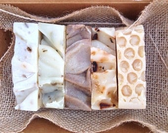 5 Handmade Soaps Gift Pack/ Eco Friendly Package/ SLS free/ Palm Oil Free/ Paraben Free/ Fragrance Free