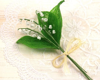 Beaded flowers,  French beaded flower, Seed bead flower, Beaded bouquet, Lily of the valley, Keepsake bouquet, Alternative bouquet