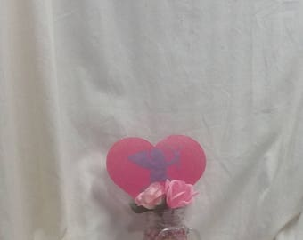 Valentine's Day gift, centerpiece, red and pink with  hearts and cupid, Valentine's day decor,  10""