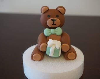 Fondant Teddy Bear Cake Topper, Fondant Birthday/Baby Shower Teddy Bear, Fondant Bear