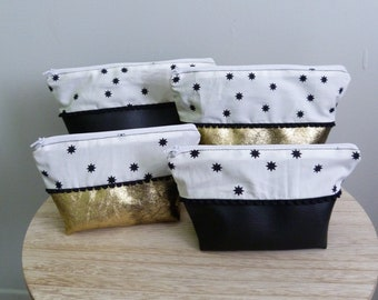 Toiletry pattern stars, tassels and leatherette