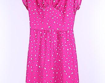 Vintage pink patterned dress UK 8