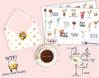Wine Planner Stickers, WTF Sticker, Wine Down Planner Sticker,  Quote Sticker, Wine Glasses, Have a Drink Sticker, Planner Accessory