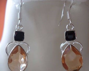 Silver 925, onyx and quartz EARRINGS