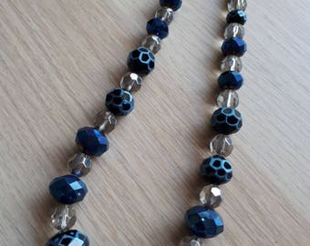 Blue Faceted Bead Necklace