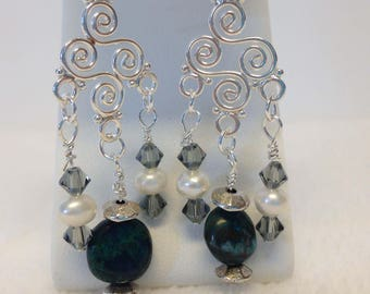 African turquoise and freshwater pearl earrings