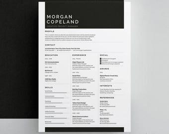 Morgan Resume/CV Template | Word | Photoshop | InDesign | Professional Resume Design | Cover Letter | Instant Download