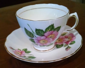 Pink Floral Cup and Saucer