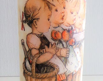 Little Sisters decorative candle,girls room decor,girls decorated candle,daughter gift,flower girl gift, candle for baptism,decoupage candle