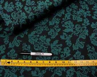 5 Yards, Fabric, Teal and Black Floral, Poly Stretch, Gothic