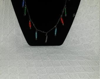 Silver Wrapped Glass and Silver Necklace and Earrings