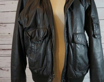Vintage Brown Leather Bomber Jacket