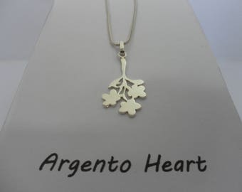 Solid sterling silver flower bouquet pendant