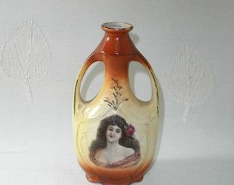 antique vase/bottle brown & beige/China/Art Nouveau/Shabby Chic/Germany