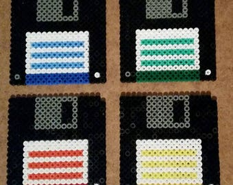 4 x coasters Retro floppy 9x9cm Hama beads