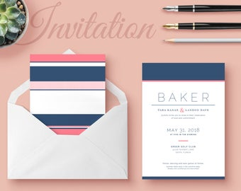 Classic Striped Wedding Invitation Template Package