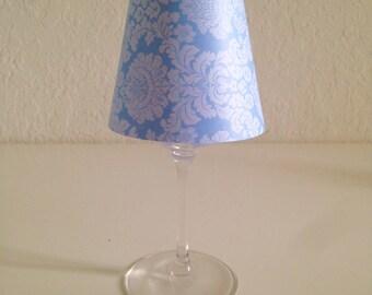 Damask wine glass lamp shade