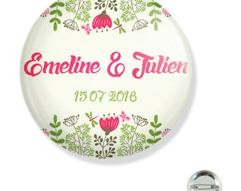 Customizable wedding 38MM badge / pink and yellow flowers