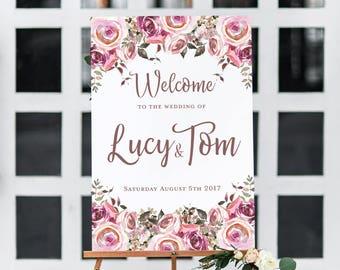 Welcome wedding sign, welcome sign wedding, welcome to our wedding sign, wedding reception sign, wedding welcome sign, floral wedding sign