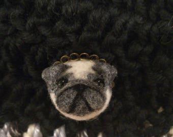 House of Ziggy, pug, pug brooch, wool brooch, needle felt, brooch, dog brooch, winter, gift, cute, kawaii, unique, handmade