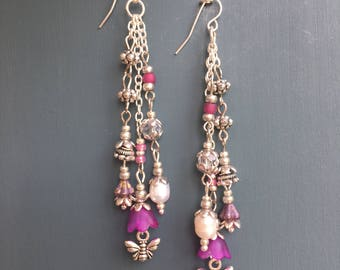 Triple drop bumble bee earrings silver and pearl - Pink and purple