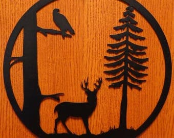 Deer With Trees Circle Wall Art
