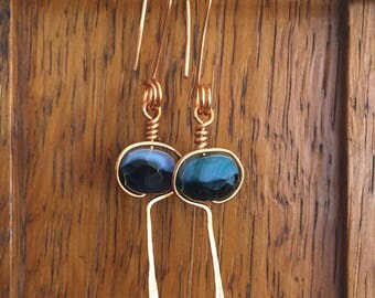 Copper Wire Wrapped Earrings With Blue Accent Bead