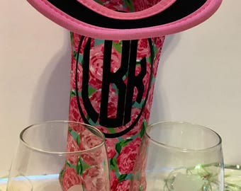 Designer print personalized insulated wine tote