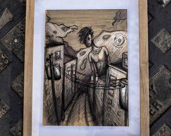 Empty City: PRINTABLE artwork, Grunge Decor, Angst Illustration, Dark Art, Original Drawing, Ballpoint Sketch, Urban Landscape