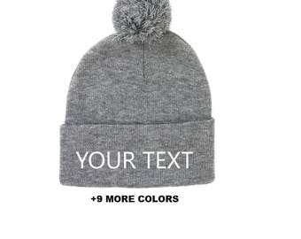 CUSTOM TEXT Pom-Pom Knit Beanie | Custom Embroidered Beanie, Custom Toque, Personalized Beanie, Cuff Beanie, Beanies with Sayings