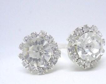 Bridal hair pins, silver hair pins, wedding hair pins, rhinestone hair pins, bridesmaids hair pins, crystal hair pins, diamante hair pins.