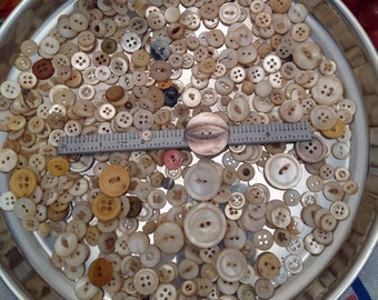 Antique and Vintage Mother of Pearl Buttons 8 oz. Some Hand Made