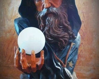 Vintage Wizard huge lamp goth gothic circus oddities sideshow freak weird curio magician antique